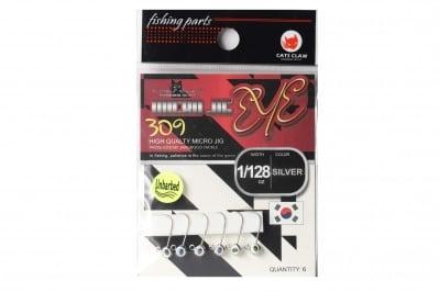 Cats Claw Micro Jig Eye Hooks 309 Silver Джиг глави Сребристи