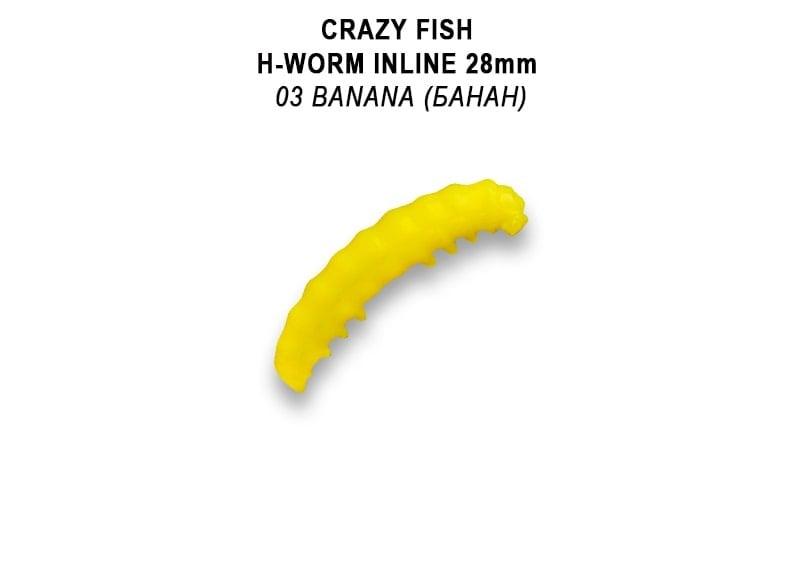 Crazy Fish MF H-Worm 2.8см Силиконова примамка 03 Banana