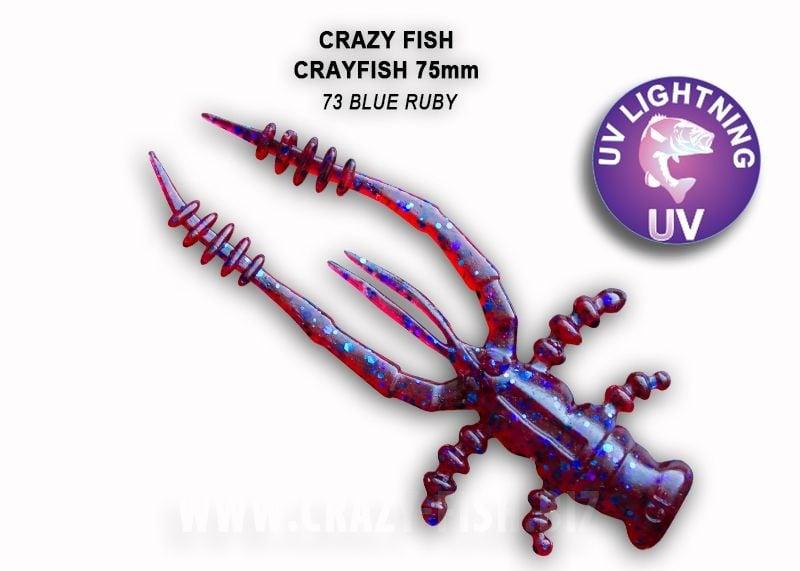 Crazy Fish CrayFish 7.5см Силиконова примамка  73 Blue Ruby