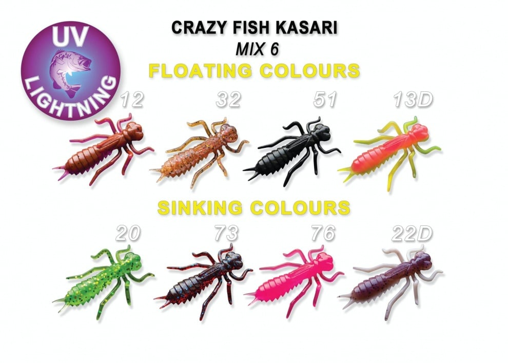 Crazy Fish Kasari 2.7см Силиконова примамка Mix 6