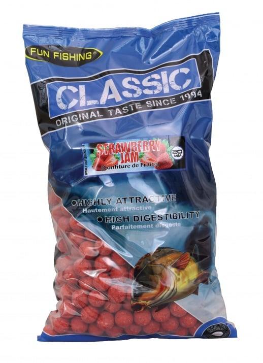 Fun Fishing Classic Boilies 15мм 800гр Протеинови топчета Strawberry Jam