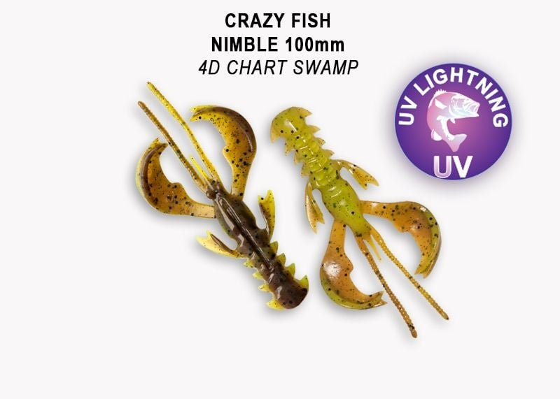 Crazy Fish Nimble 10см Силиконова примамка 4D Chart Swamp