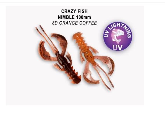 Crazy Fish Nimble 10см Силиконова примамка 8D Orange Coffee