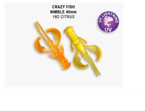 Crazy Fish Nimble 4см Силиконова примамка  18D Citrus