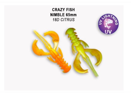 Crazy Fish Nimble 6.5см Силиконова примамка  18D Citrus