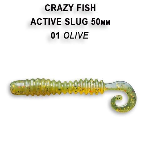 Crazy Fish Active Slug 5см Силиконова примамка  01 Olive