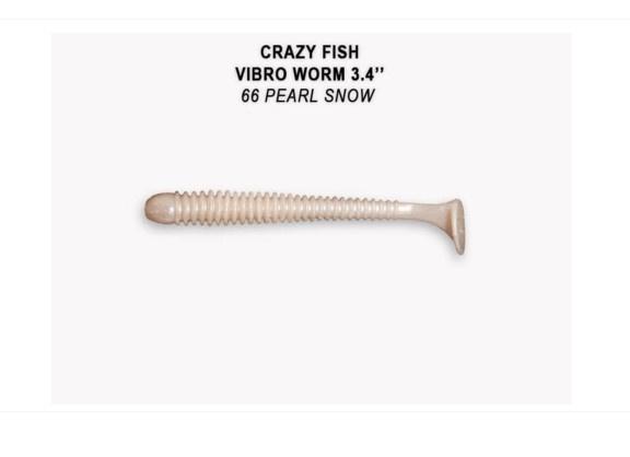 Crazy Fish Vibro Worm 8.5см Floating Силиконова примамка 66 White Pearl