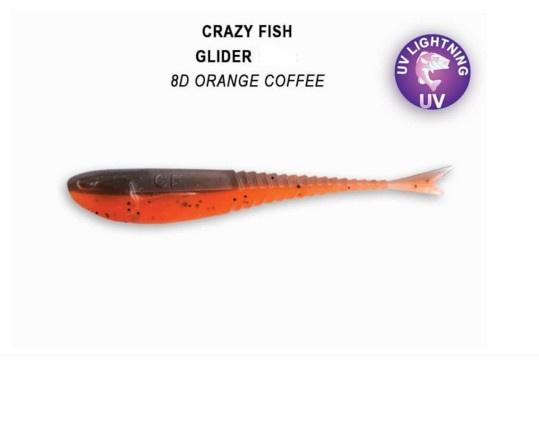 Crazy Fish Glider 12см Floating Силиконова примамка 8D Orange Coffee