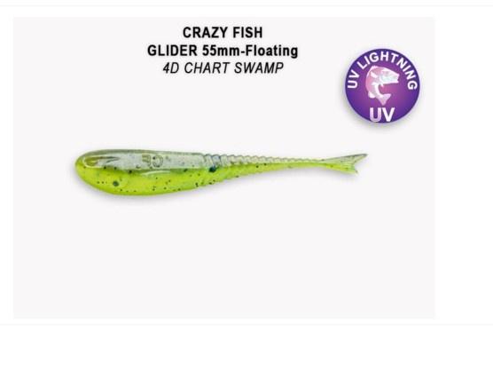 Crazy Fish Glider 5.5см Floating Силиконова примамка 4D Chart Swamp