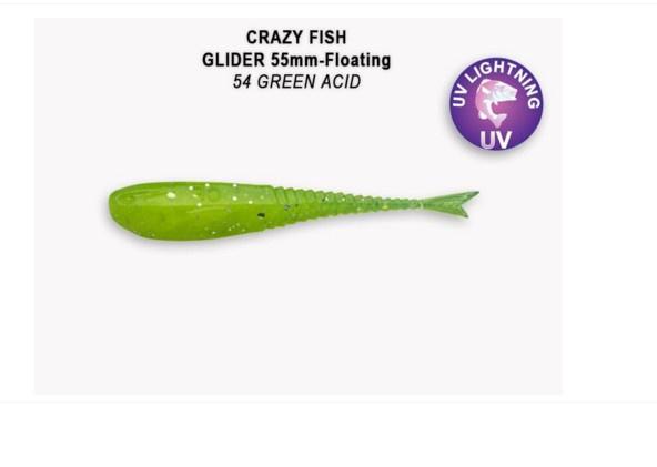 Crazy Fish Glider 5.5см Floating Силиконова примамка 54 Green Acid