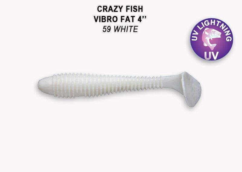 Crazy Fish Vibro Fat 10см Силиконова примамка 59 White