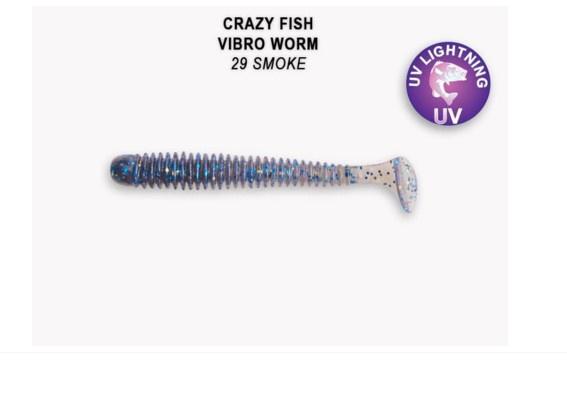 Crazy Fish Vibro Worm 5см Силиконова примамка  29 Smoke
