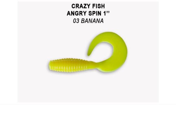 Crazy Fish Angry Spin 2,5см Силиконова примамка  03 Banana
