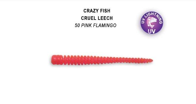 Crazy Fish Cruel Leech 5,5см Силиконова примамка 50 Pink Flamingo