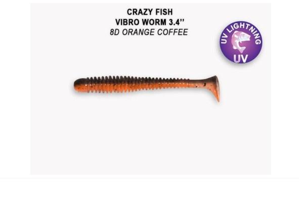 Crazy Fish Vibro Worm 8.5см Силиконова примамка  8D Orange Coffee