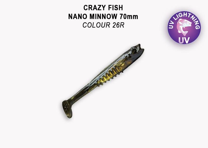 Crazy Fish Nano Minnow 7см Силиконова примамка 26 Swamp