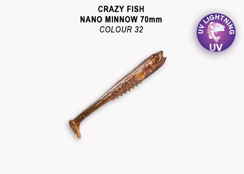 Crazy Fish Nano Minnow 7см Силиконова примамка 32 Dark Beer