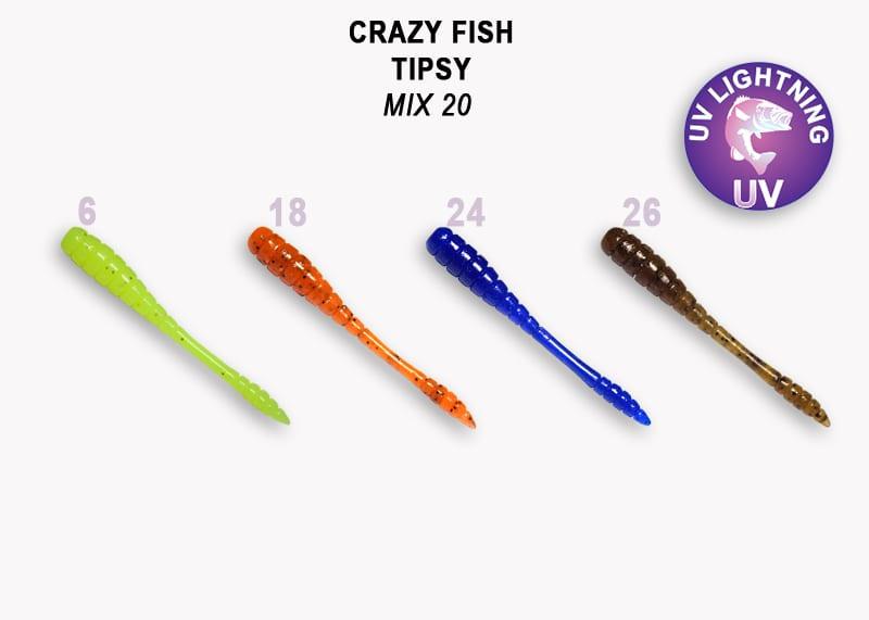 Crazy Fish Tipsy 5см Силиконова примамка  Mix 20