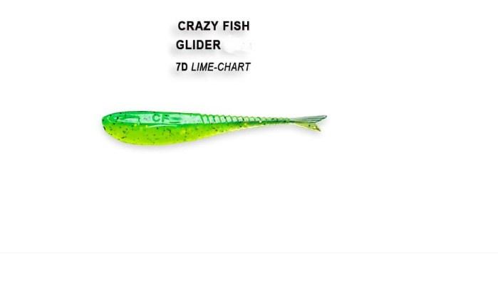 Crazy Fish Glider 5.5см Силиконова примамка 7D Lime Chart