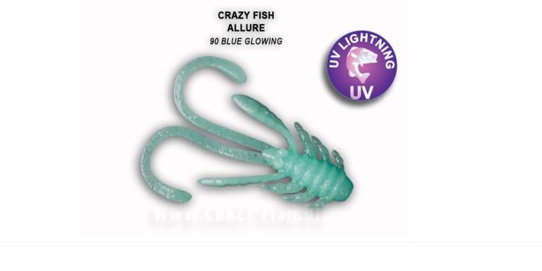 Crazy Fish Allure 4см Силиконова примамка 90 Blue Glowing