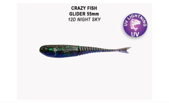 Crazy Fish Glider 5.5см Силиконова примамка 12D Night Sky
