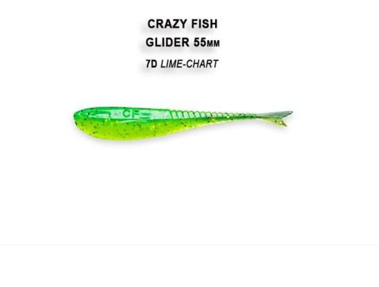 Crazy Fish Glider 5.5см Floating Силиконова примамка 7D Lime Chart
