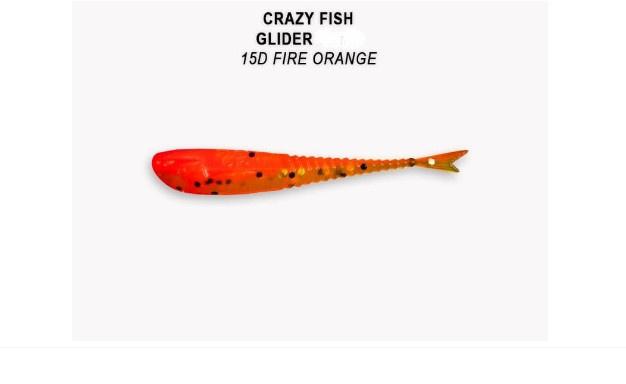 Crazy Fish Glider 5.5см Силиконова примамка 15D Fire Orange
