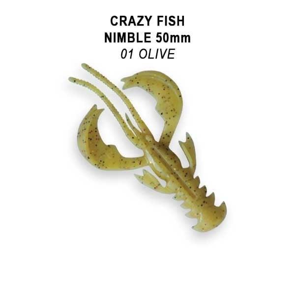 Crazy Fish Nimble 5см Floating Силиконова примамка  01 Olive