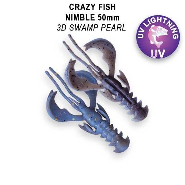 Crazy Fish Nimble 5см Floating Силиконова примамка  3D Swamp Pearl