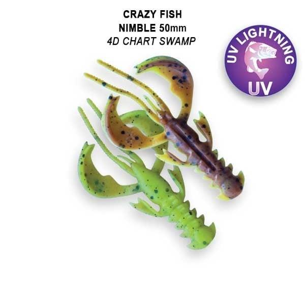 Crazy Fish Nimble 5см Floating Силиконова примамка  4D Chart Swamp