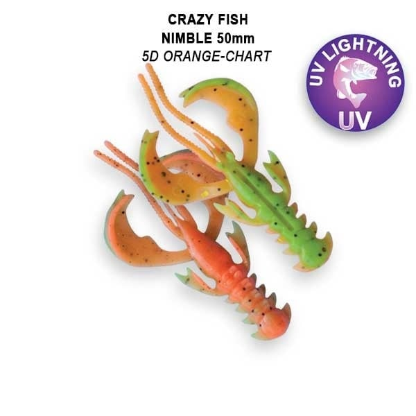 Crazy Fish Nimble 5см Floating Силиконова примамка  5D Orange Chart