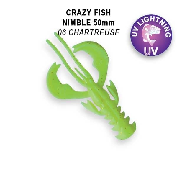 Crazy Fish Nimble 5см Floating Силиконова примамка  06 Chartreuse