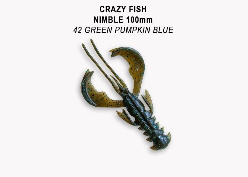 Crazy Fish Nimble 10см Силиконова примамка 42 Green Pumpkin