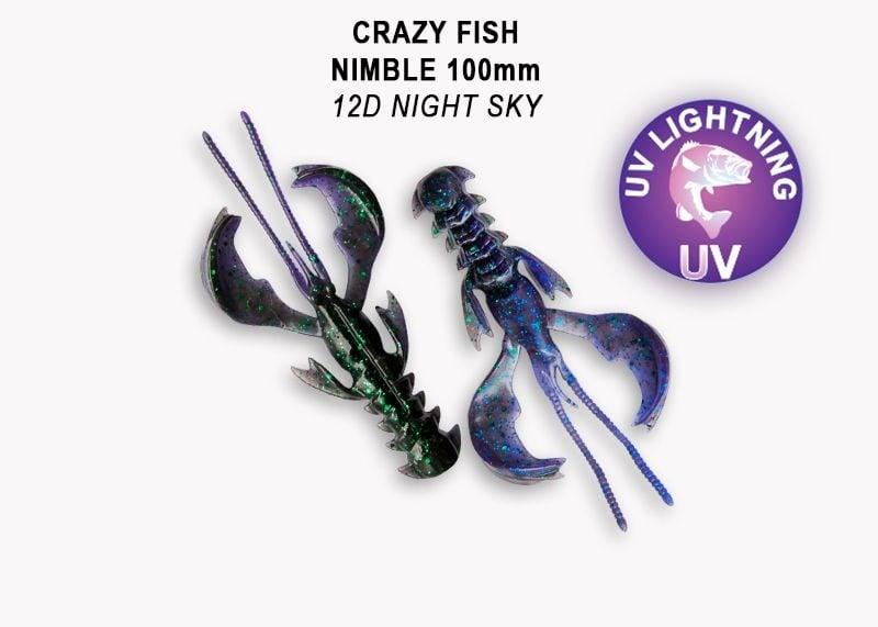 Crazy Fish Nimble 10см Силиконова примамка 12D Night Sky