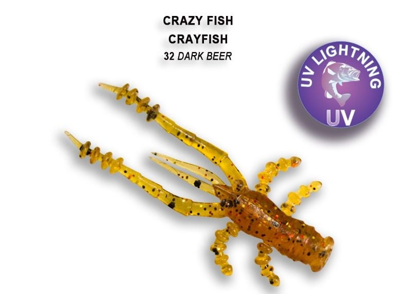 Crazy Fish CrayFish 4.5см Силиконова примамка 32 Dark Beer