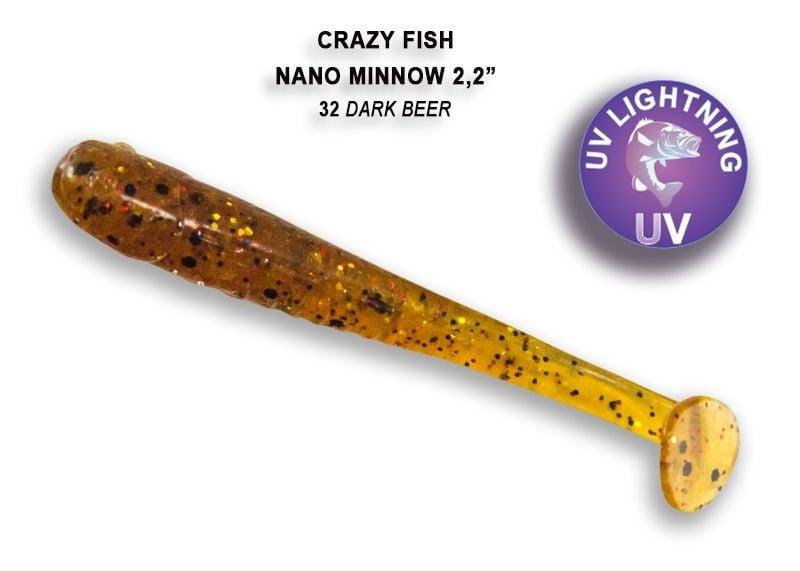 Crazy Fish Nano Minnow 5,5см Силиконова примамка  32 Dark Beer