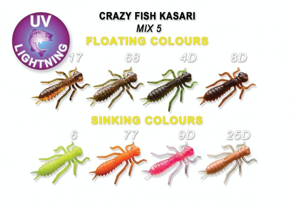 Crazy Fish Kasari 2.7см Силиконова примамка Mix 5