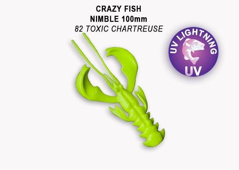 Crazy Fish Nimble 10см Силиконова примамка 82 Toxic Chartreuse