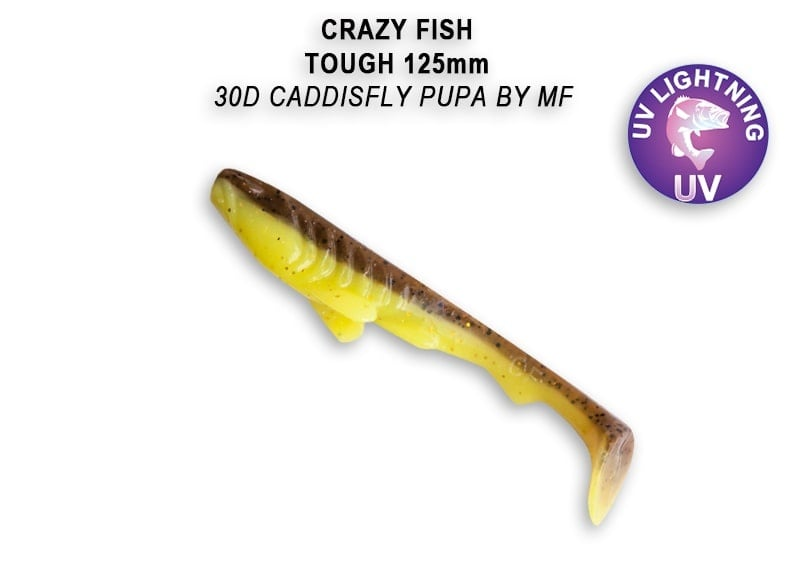Crazy Fish Tough 12.5 см Силиконова примамка 30D Caddisfly Pupa