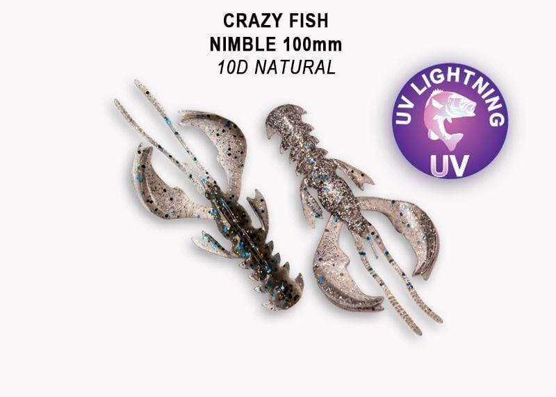 Crazy Fish Nimble 10см Силиконова примамка 3D Swamp Pearl