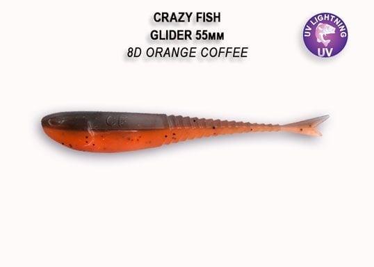 Crazy Fish Glider 5.5см Floating Силиконова примамка 8D Orange Coffee