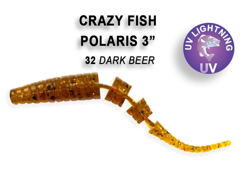 Crazy Fish Polaris 6.8см Силиконова примамка  32 Dark Beer