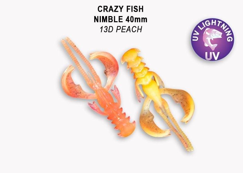 Crazy Fish Nimble 4см Силиконова примамка  13D Peach