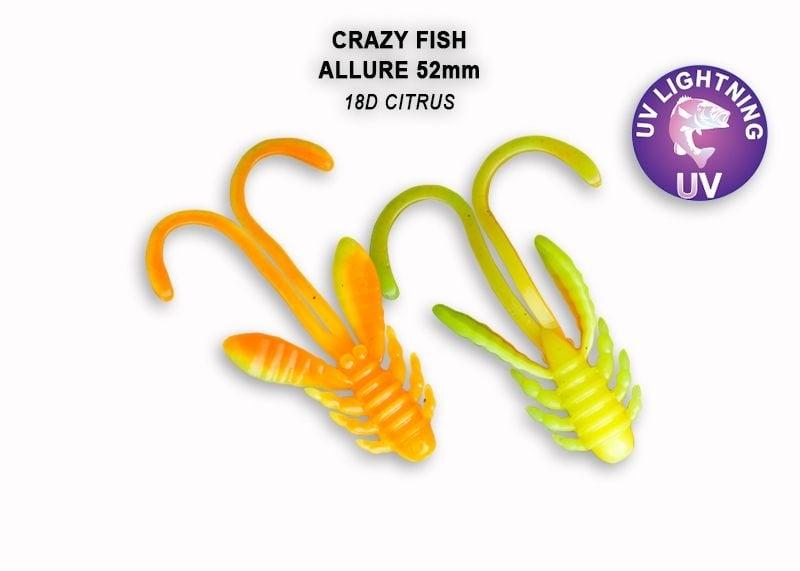Crazy Fish Allure 5.2см Силиконова примамка 18D Citrus