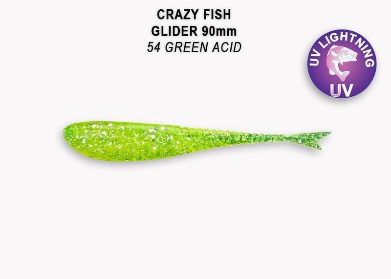 Crazy Fish Glider 9см Силиконова примамка  54 Green Acid