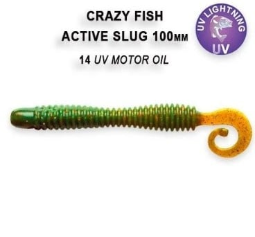 Crazy Fish Active Slug 10см Силиконова примамка 14 UV Motor Oil