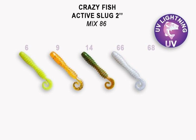 Crazy Fish Active Slug 5см Силиконова примамка  Mix 86