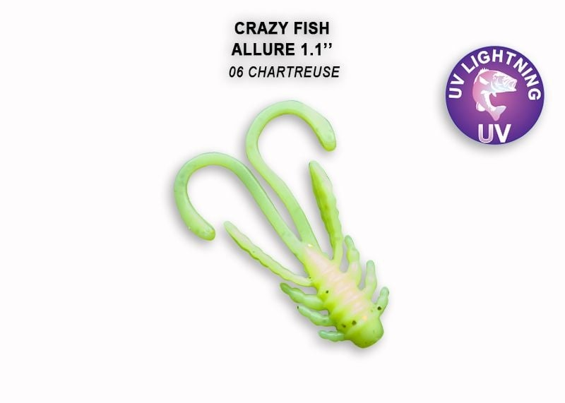 Crazy Fish Allure 2.7см Силиконова примамка 06 Chartreuse