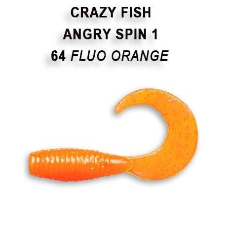 Crazy Fish Angry Spin 2,5см Силиконова примамка  64 Fluo Orange