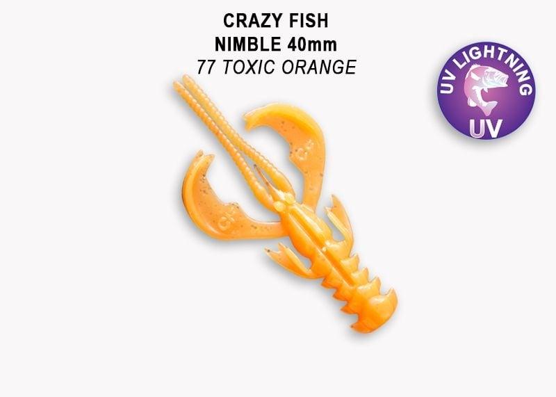 Crazy Fish Nimble 4см Силиконова примамка  77 Toxic Orange